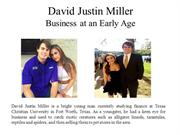 David Justin Miller - Business at an Early Age