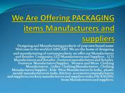 We Are Offering Manufacturers and Suppliers Companies