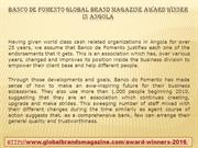 Banco de Fomento Global Brand Magazine Award Winner in Angola