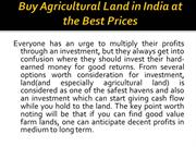Buy Agricultural Land in India at the Best