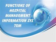 Functions of Hospital Management Information System