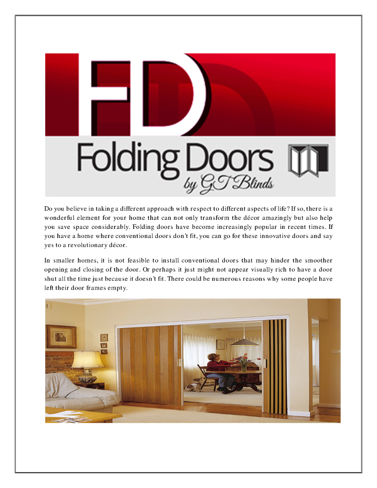 Save Space And Infuse Elegance With Folding Doors In Brisbane