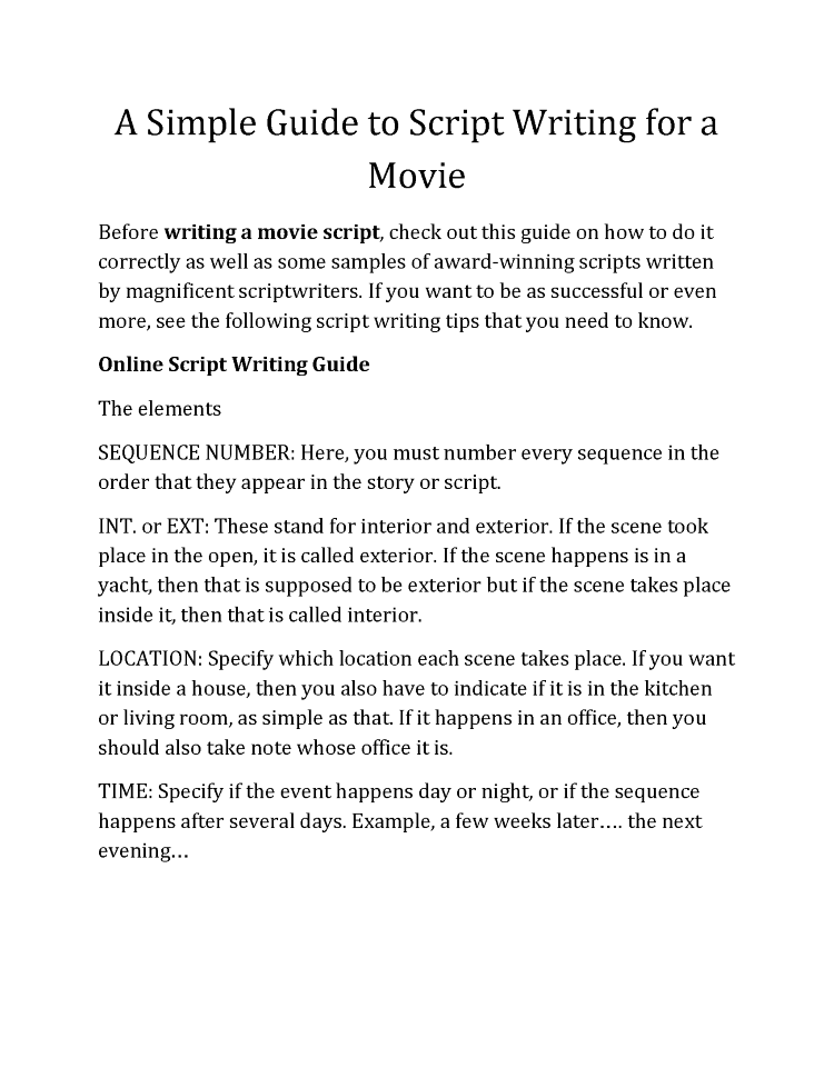 discover the simple guide to script writing for a movie and write