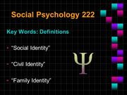 Definitions - Civil Identity - Social Identity -Family Identity