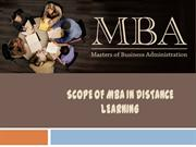 Scope of MBA in Distance Learning