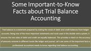 Some Important-to-Know Facts about Trial Balance Accounting