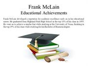 Frank McLain - Educational Achievements