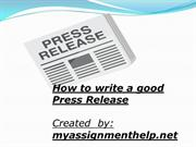 How to write a good Press Release by myassignmenthelp.net
