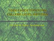 Term Paper Topics for College-Level Writings