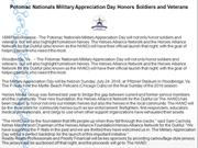 Potomac Nationals Military Appreciation Day Honors Soldiers and Vetera