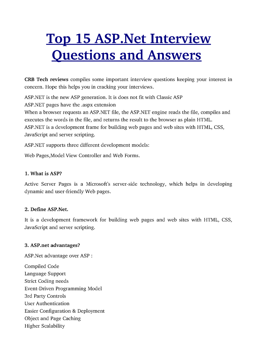top 15 asp dot net interview questions and answers authorstream related presentations