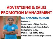 Advertising and Sales Promotion Management