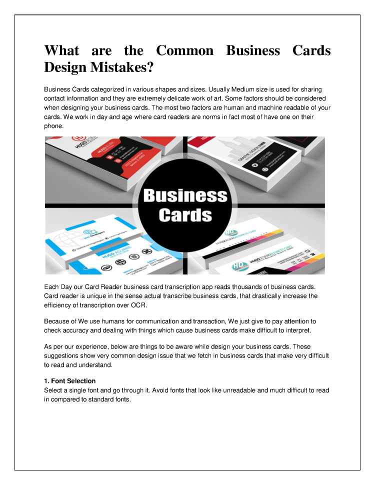 What are the Common Business Cards Design Mistakes |authorSTREAM