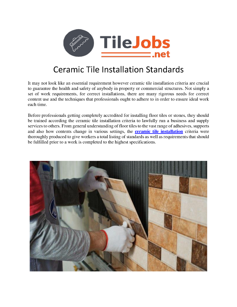 Ceramic tile installation standards authorstream related presentations dailygadgetfo Choice Image