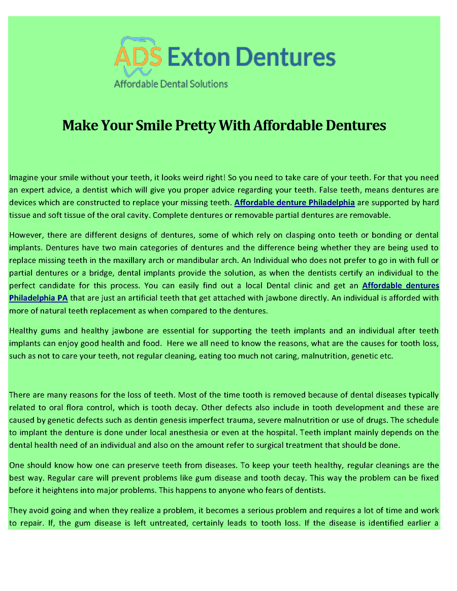 Make Your Smile Pretty With Affordable Dentures |authorSTREAM