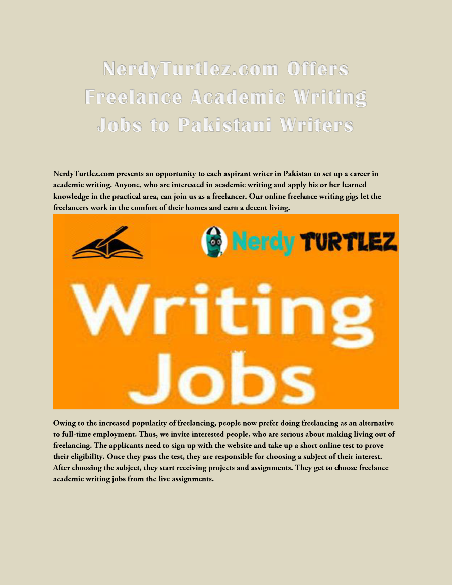 online academic writing jobs Get freelance writing job at writersessayshark  become a freelance writer with  and have a desire to meet the high standards of academic writing, you.