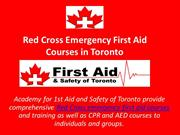 Red Cross Emergency First Aid Courses in Toronto