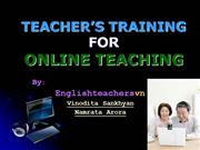 Teacher's Training for Online Teaching