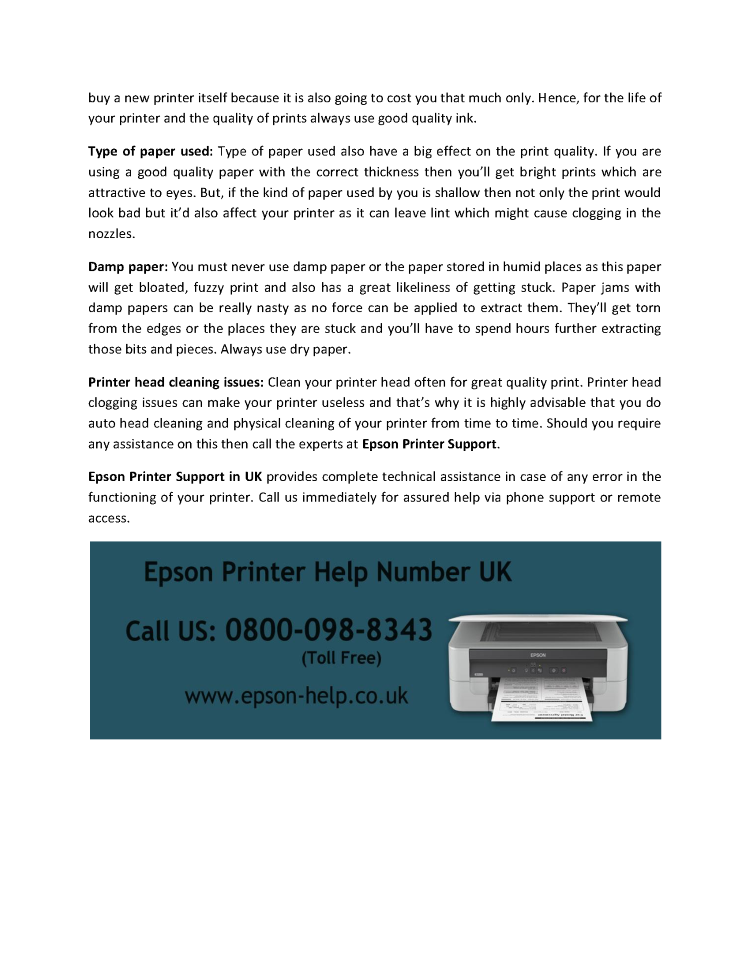 Resolve All Printing Quality Issues With the Help of Epson Printer