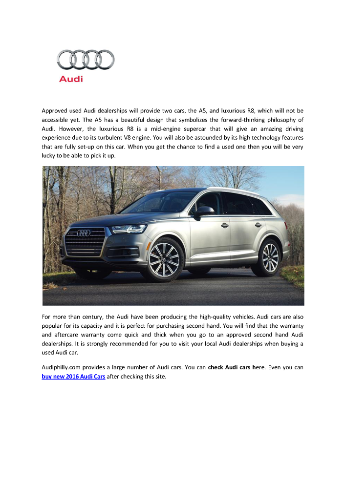 Tips To Buy Audi Cars Audi Philly AuthorSTREAM - Audi car second hand