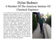 Dylan Bednarz - Member Of The American Institute Of Chemical Engineers