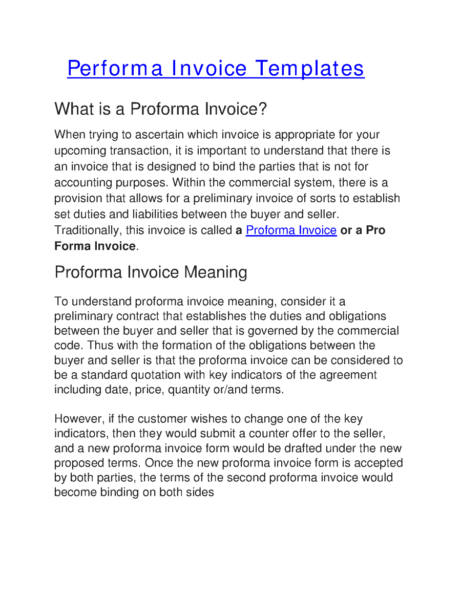 proforma invoice meaning