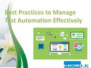 Best Practices to Manage Test Automation Effectively
