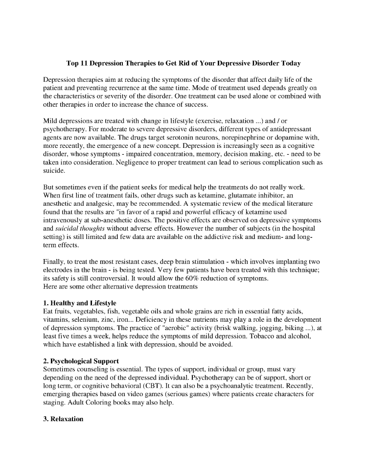 11 Depression Therapies To Get Rid Of Your Depressive Disorder Tod