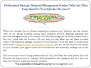 Professional Strategic Financial Management Services-Why Are They Impo