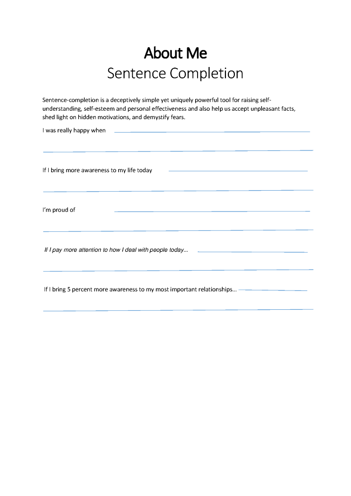 Printable Self Esteem Worksheets for Kids Teens And Adults – Self Awareness Worksheets