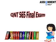 QNT 565 Final Exam Questions & Answers - Assignment E Help