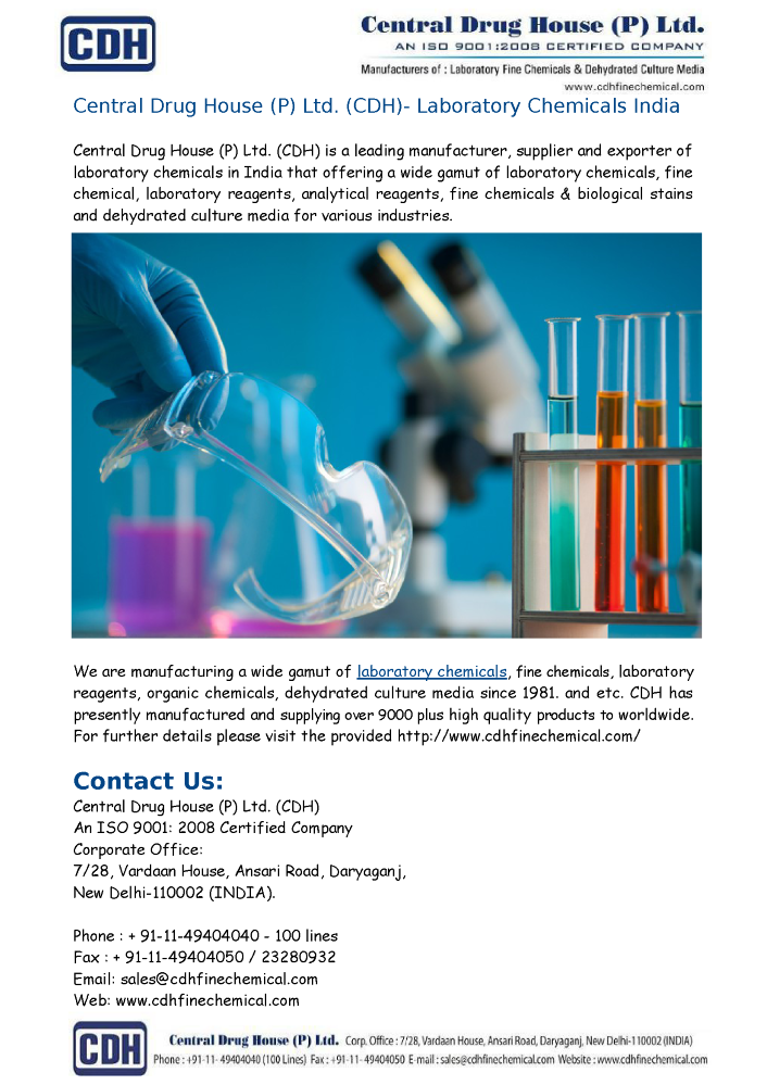 CDH- Laboratory Chemicals Suppliers India  authorSTREAM