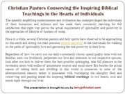 Christian Pastors Conserving the Inspiring Biblical Teachings in the H