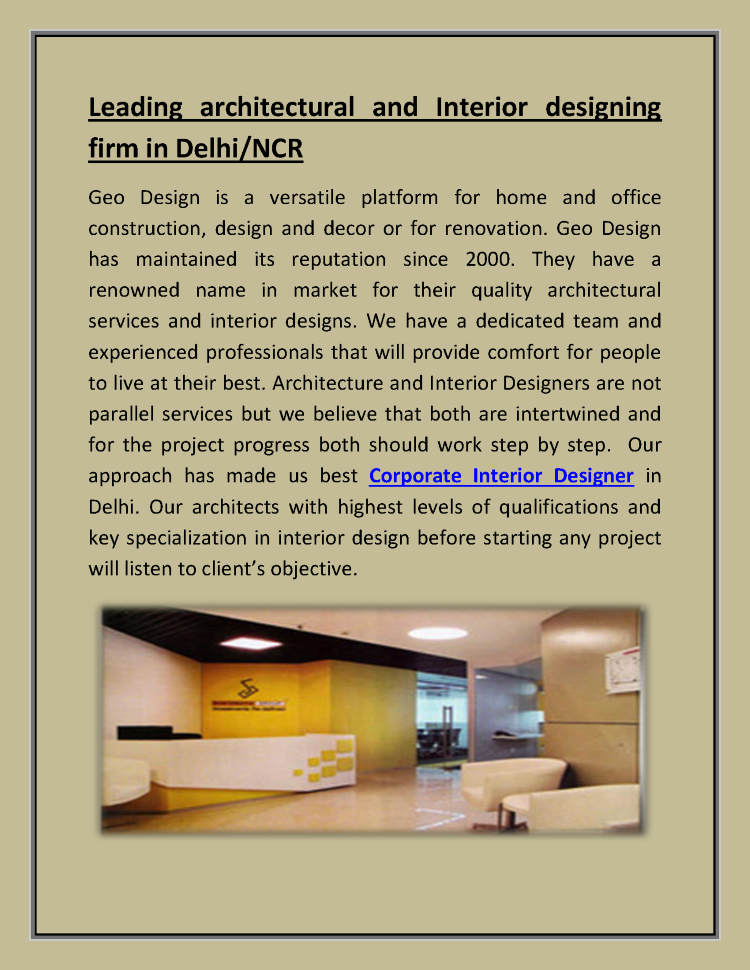 Leading Architectural And Interior Designing Firm in DelhiNCR