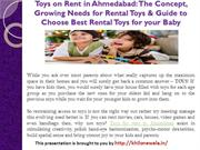 Toys on Rent in Ahmedabad-The Concept, Growing Needs for Rental Toys &