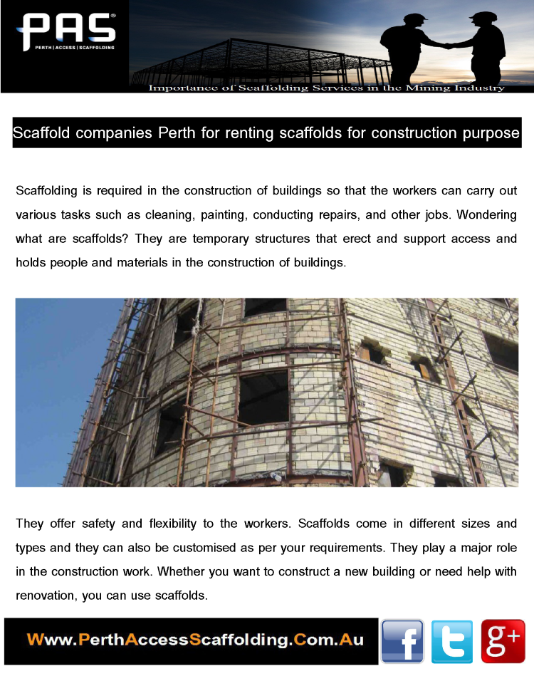 Scaffold Companies Perth for Renting Scaffolds for