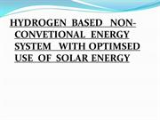 Hydrogen based Non-Conventional Energy Fuel with Optimized use of Sola