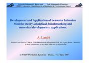 Development and Application of Seawater Intrusion Models theory, analy