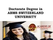 Doctorate Degree in ABMS SWITZERLAND UNIVERSITY