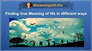 Finding true meaning of life in different ways