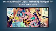 Digital Marketing strategies for 2016 – Sanat Palia