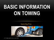 Basic Information on Towing
