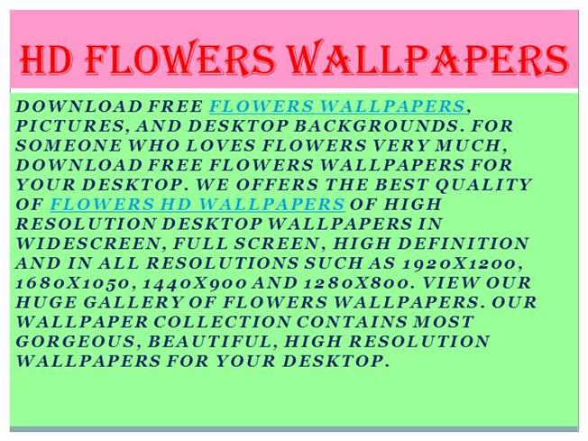 Flowers Wallpapers Flowers Hd Wallpapers Authorstream