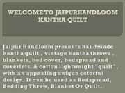 Twin Kantha Quilts Throws and Blankets - Jaipur Handloom