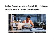 SME Loans : Is the Government's Small Firm's Loan Guarantee Scheme