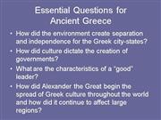 Essential Questions for Greece