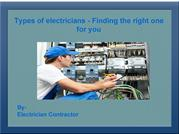 Types of electricians -Finding the right one for you