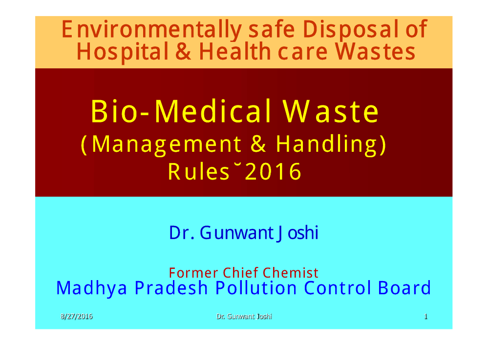 High Quality Bio Medical Waste Management PPT Photo