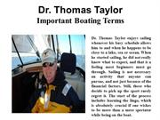 Dr. Thomas Taylor - Important Boating Terms