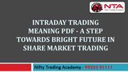Intraday Trading Meaning | Intraday Trading Techniques PDF